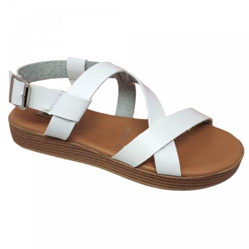 Sandalia para mujer blanca de piso Capa de Ozono 596502