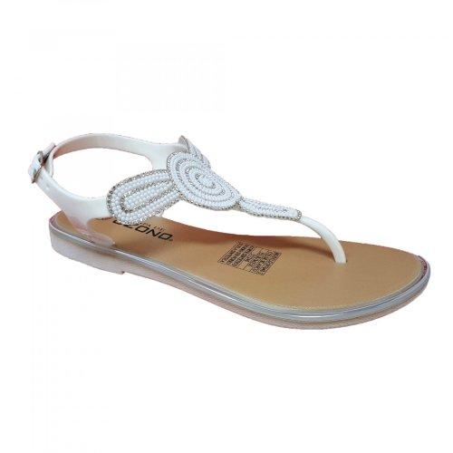 Sandalia blanca para mujer de piso con brillos Capa de Ozono 597648