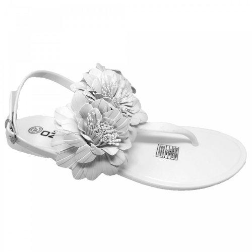 Sandalia blanca para mujer de piso Capa de Ozono 598804