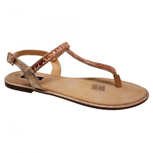 Sandalia para mujer beige rosa de piso Capa de Ozono 599103