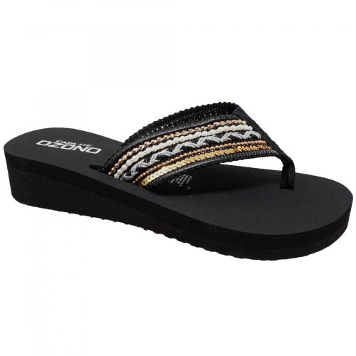 Sandalia negra para mujer con pata de gallo Capa de Ozono 60004401