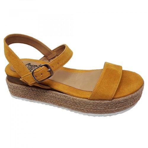 Sandalia de mujer plataforma amarilla Coyote y Olivia C3504