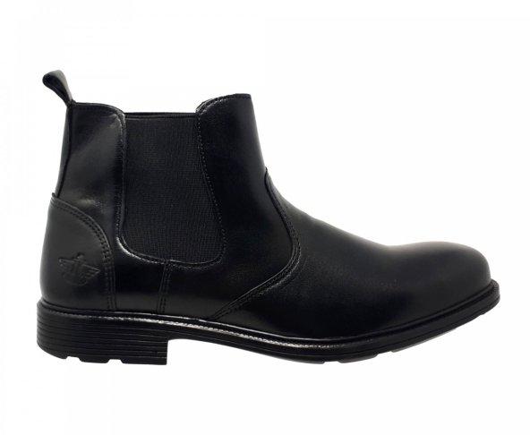 Botín negro chelsea para hombre en piel lisa Dockers 210652