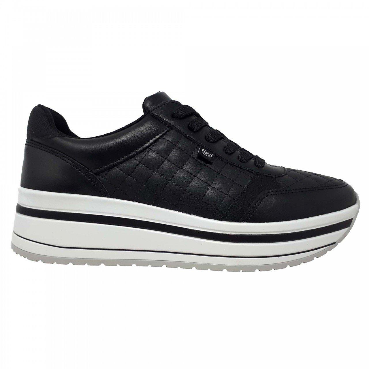 Tenis de plataforma negro para mujer Flexi 101007