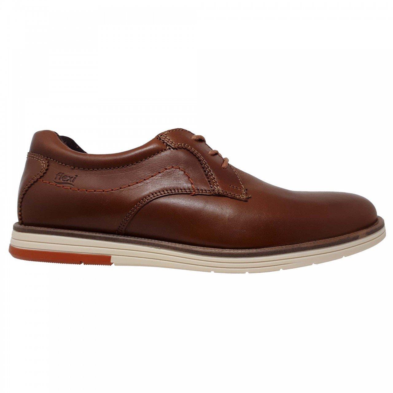 Zapato café para hombre en piel Flexi 406701