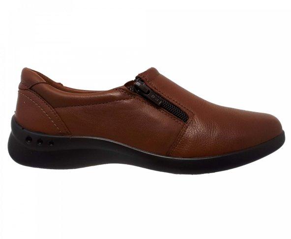 Zapato bajo café tan para mujer en piel Flexi 48303
