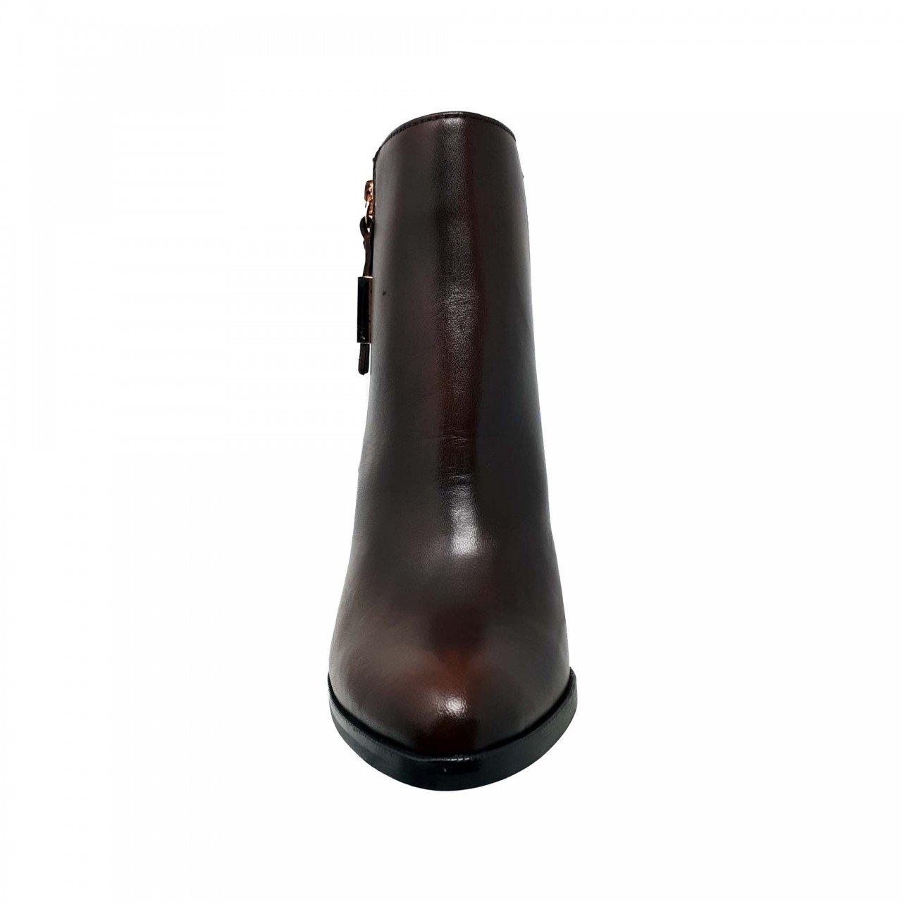 Botín en piel café coñac de mujer Gillio 721002