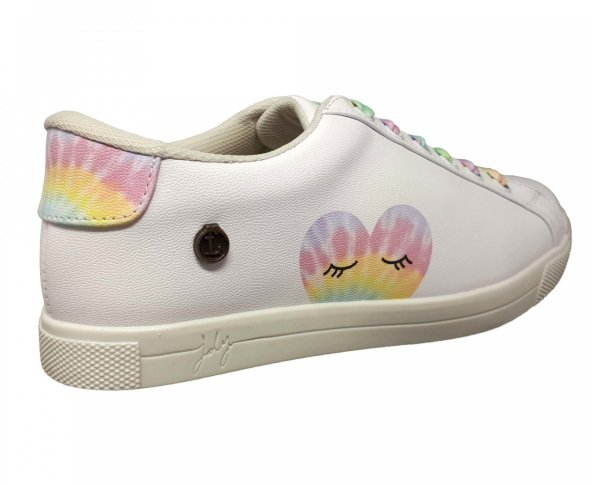 Tenis blanco agujetas arcoiris para mujer Goldie Loly in the sky