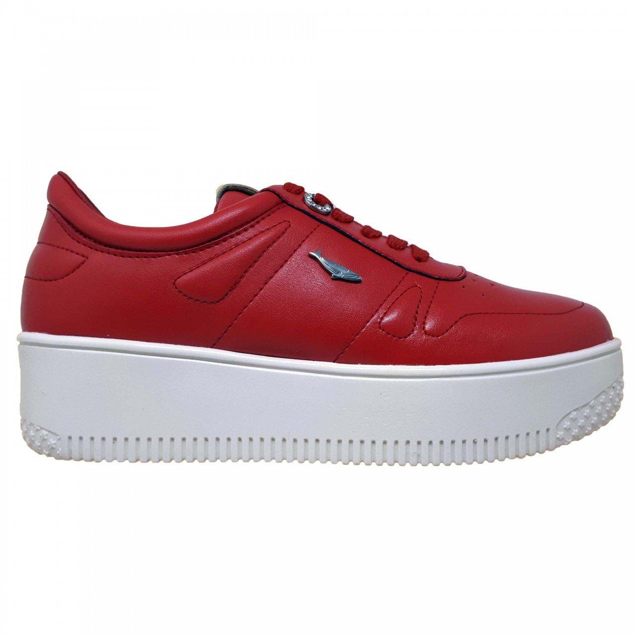 Tenis rojo de plataforma blanca para mujer Hemisferios H28206