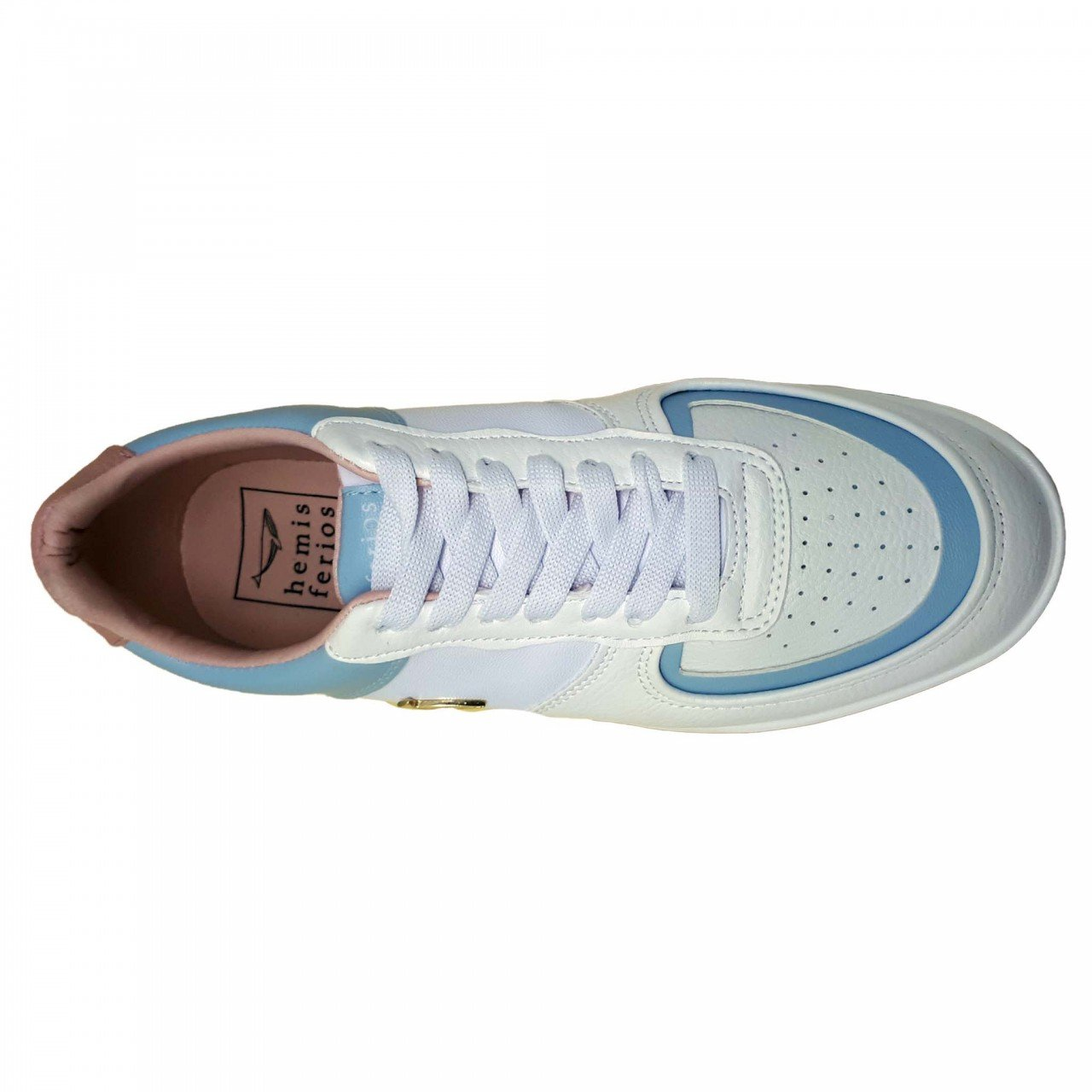 Tenis blanco con azul de plataforma para mujer Hemisferios H28207