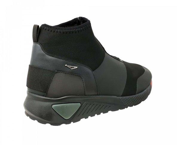 Tenis bota negro de licra y cierre para hombre Hemisferios H9202