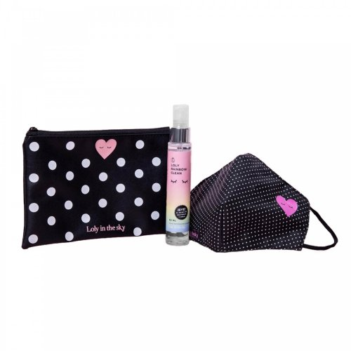 Kit de cubrebocas Mrs dots, gel antibacterial y cosmetiquera Loly in the Sky