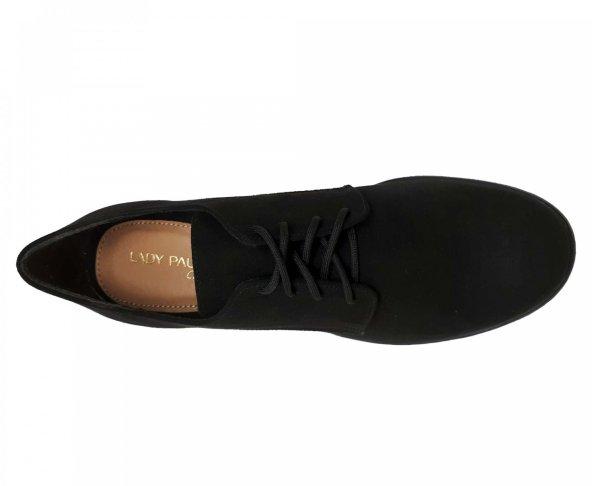 Choclo negro textil de tacón casual para mujer Lady Paulina 13503