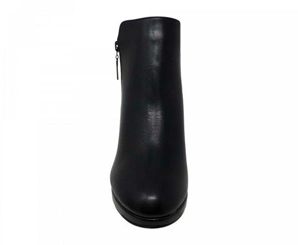 Botín negro tipo piel de tacón para mujer 84214