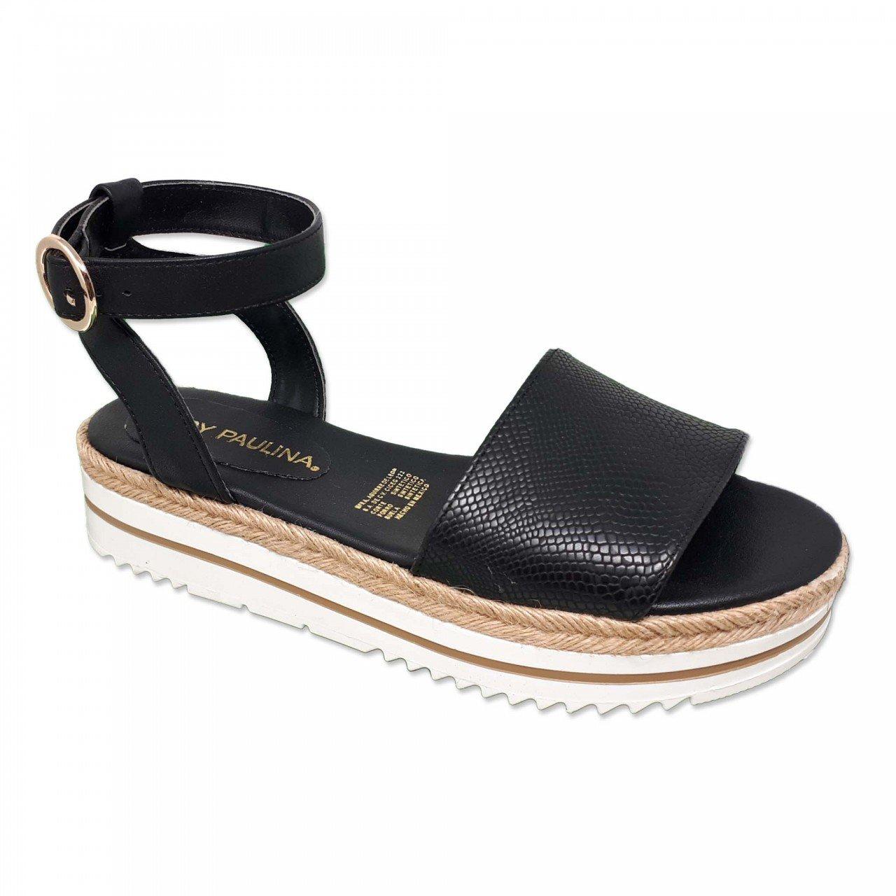 Sandalia negra para mujer 98011