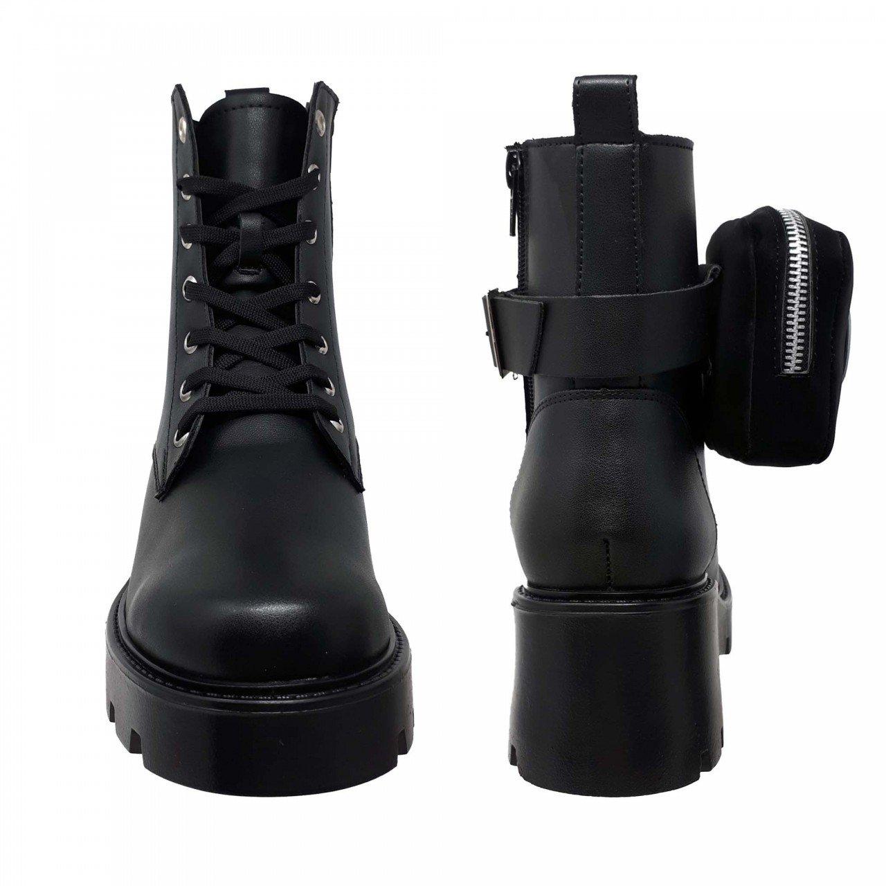 Botín negro de plataforma con bolsa para mujer M2522