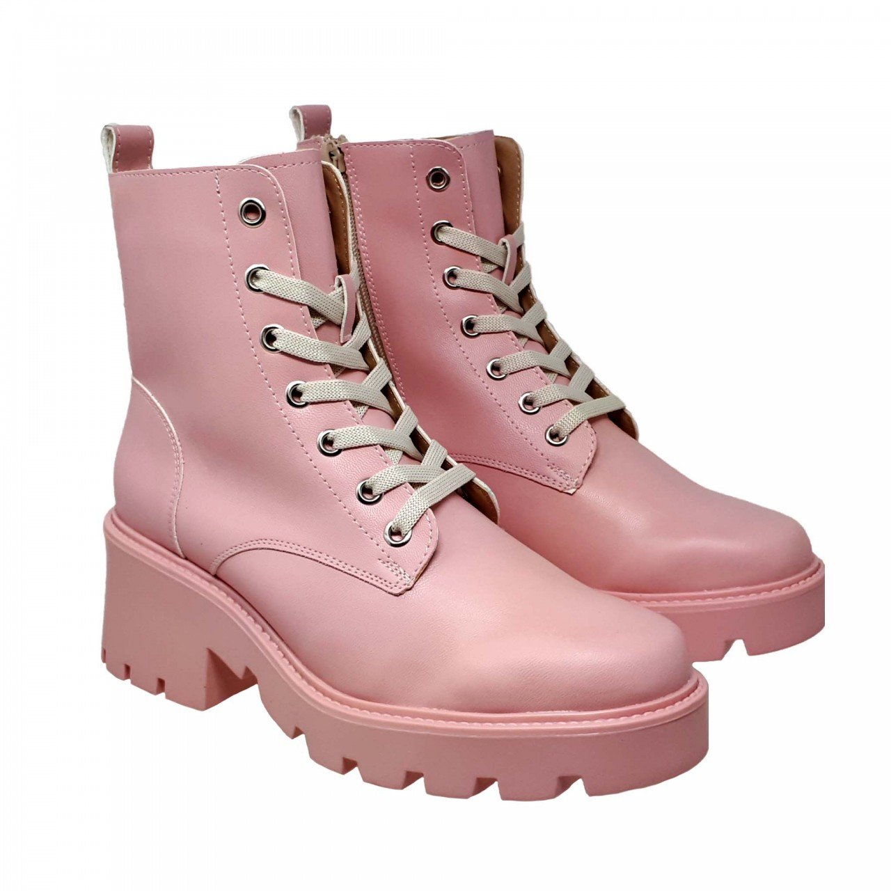 Botín rosa tipo piel de plataforma con bolsa para mujer M2522