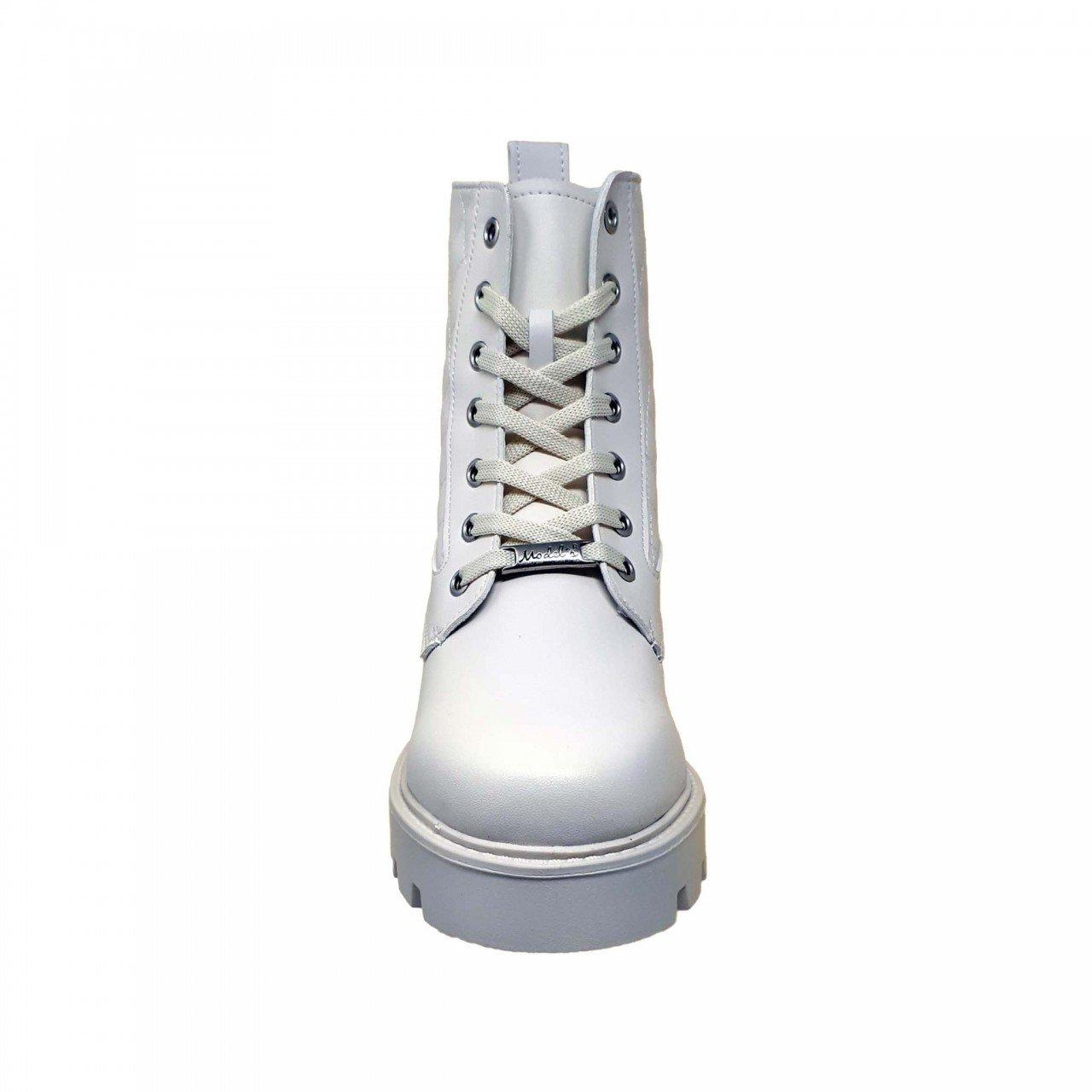 Botín blanco late tipo piel de plataforma para mujer M2529
