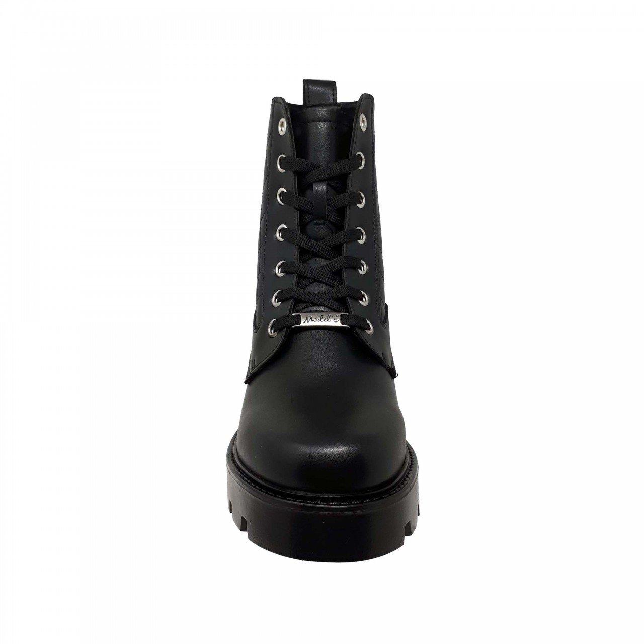 Botín negro tipo piel de plataforma para mujer M2529