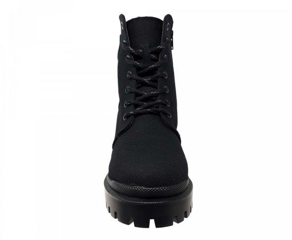 Botín negro textil para mujer M3111