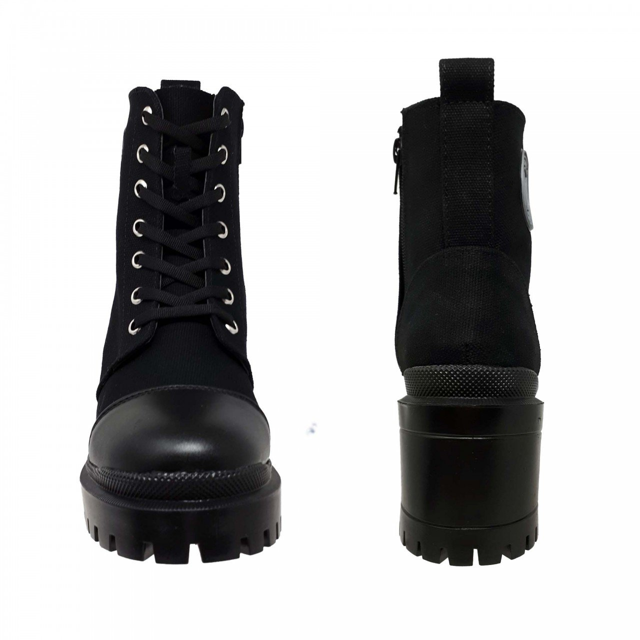 Botín negro lona textil para mujer M3123