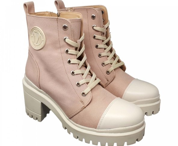 Botín rosa textil para mujer M3123