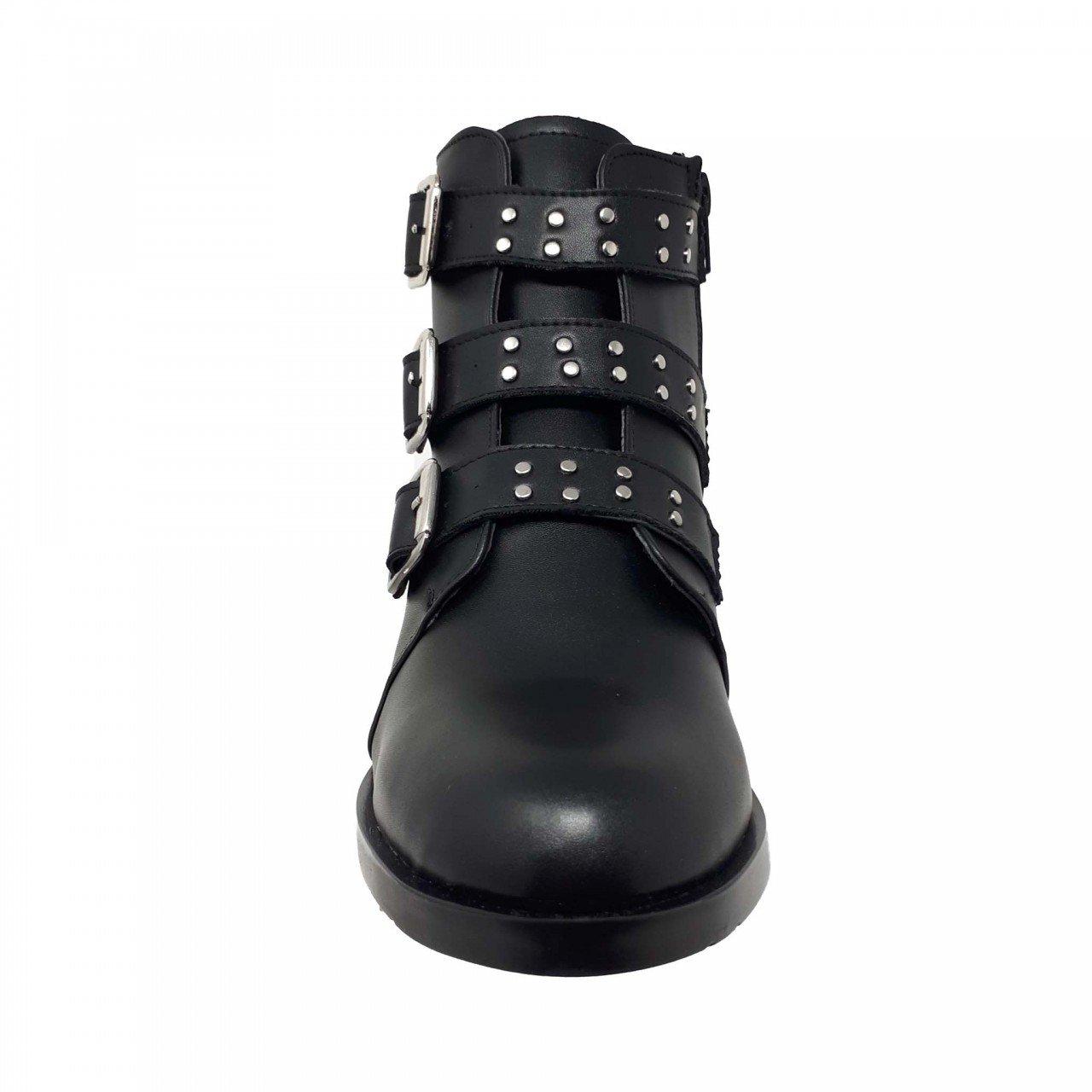 Botín negro con hebillas para mujer M326