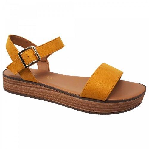 Sandalia amarilla de plataforma para mujer Perugia 33201