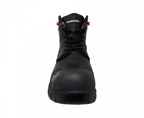 Botín negro de casquillo para hombre Swiss Brand 510701