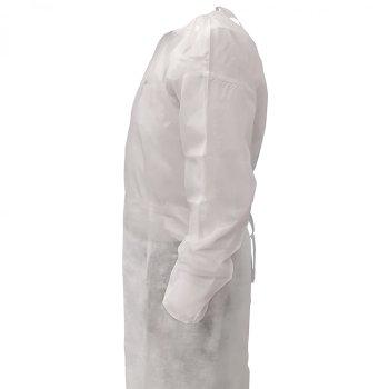 Bata desechable blanca repelente al agua Paq. 10 Pzas. Precio U.T. $76.00 M.N. + IVA