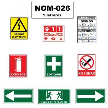 Paquete de 9 Letreros de Seguridad Grandes