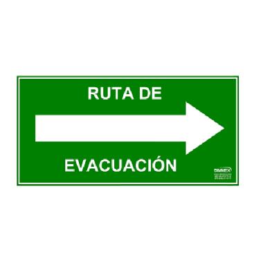 Letrero Ruta de Evacuación Derecha Chico 10x20