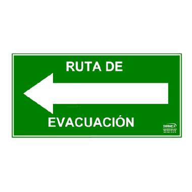 Letrero Ruta de Evacuación Izquierda Chico 10x20