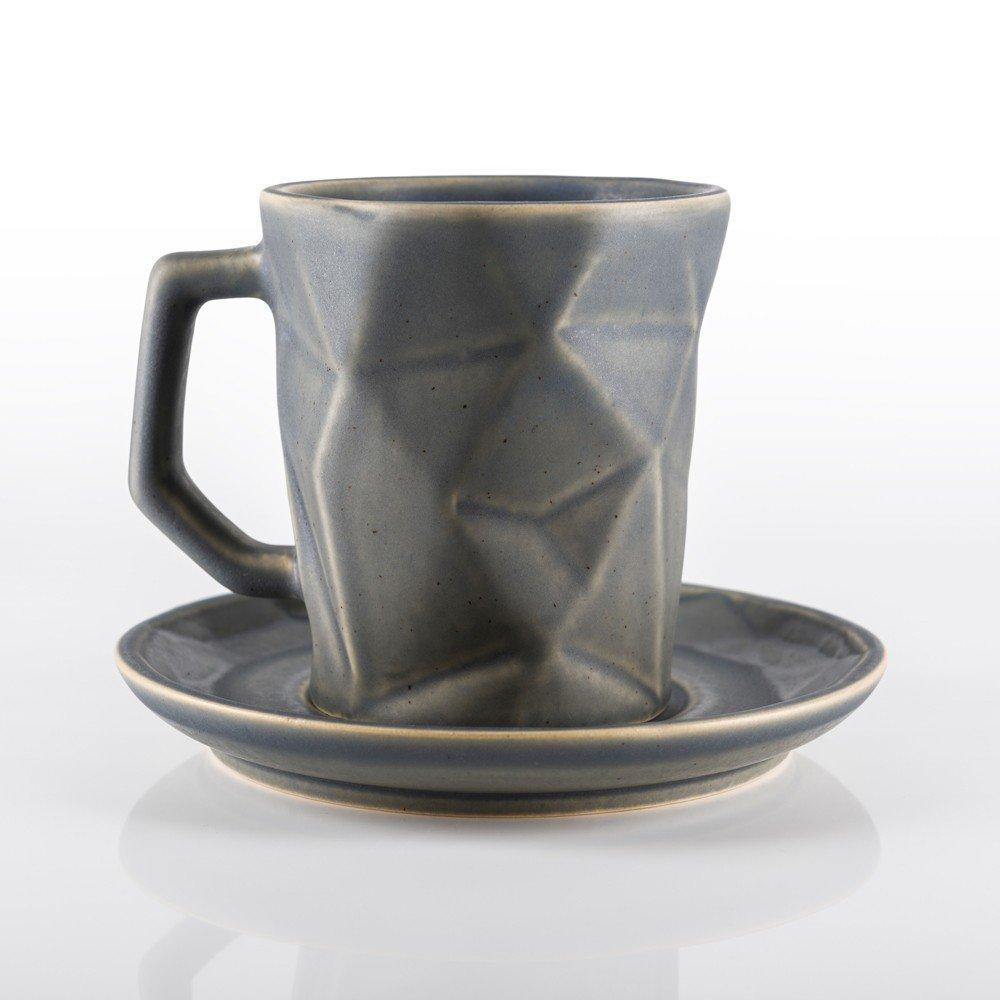 Juego de plato y taza Prisma 250 color gris piedra