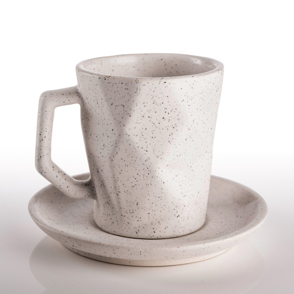 Juego de plato y taza Prisma 250 color blanco viruta