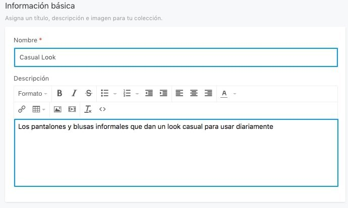 Información Básica de Colección