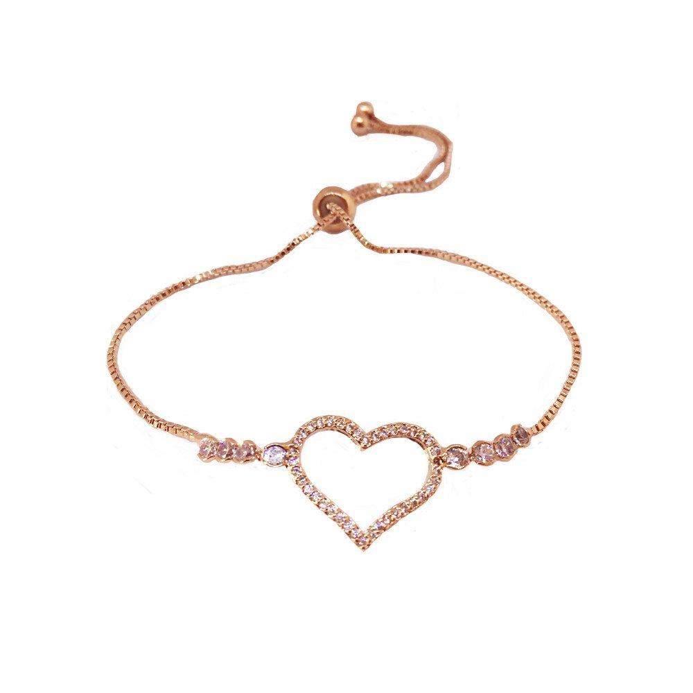 Pulsera Corazón Circonias Chapa Oro Rosado