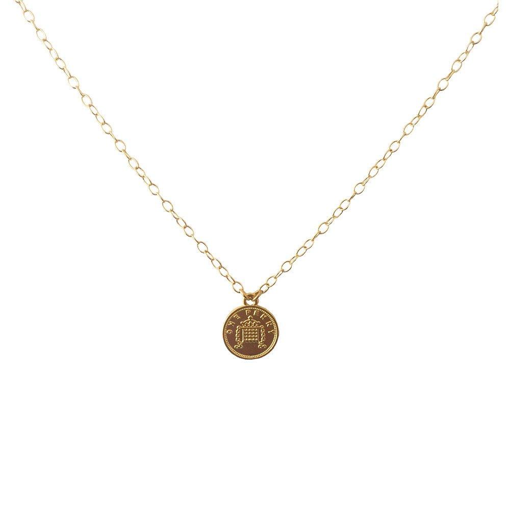 Collar Moneda Penny Chica Satinada Chapa de Oro 18k