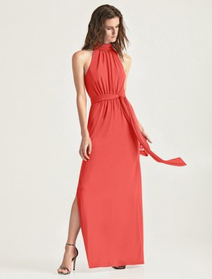 MOCK NECK JERSEY GOWN