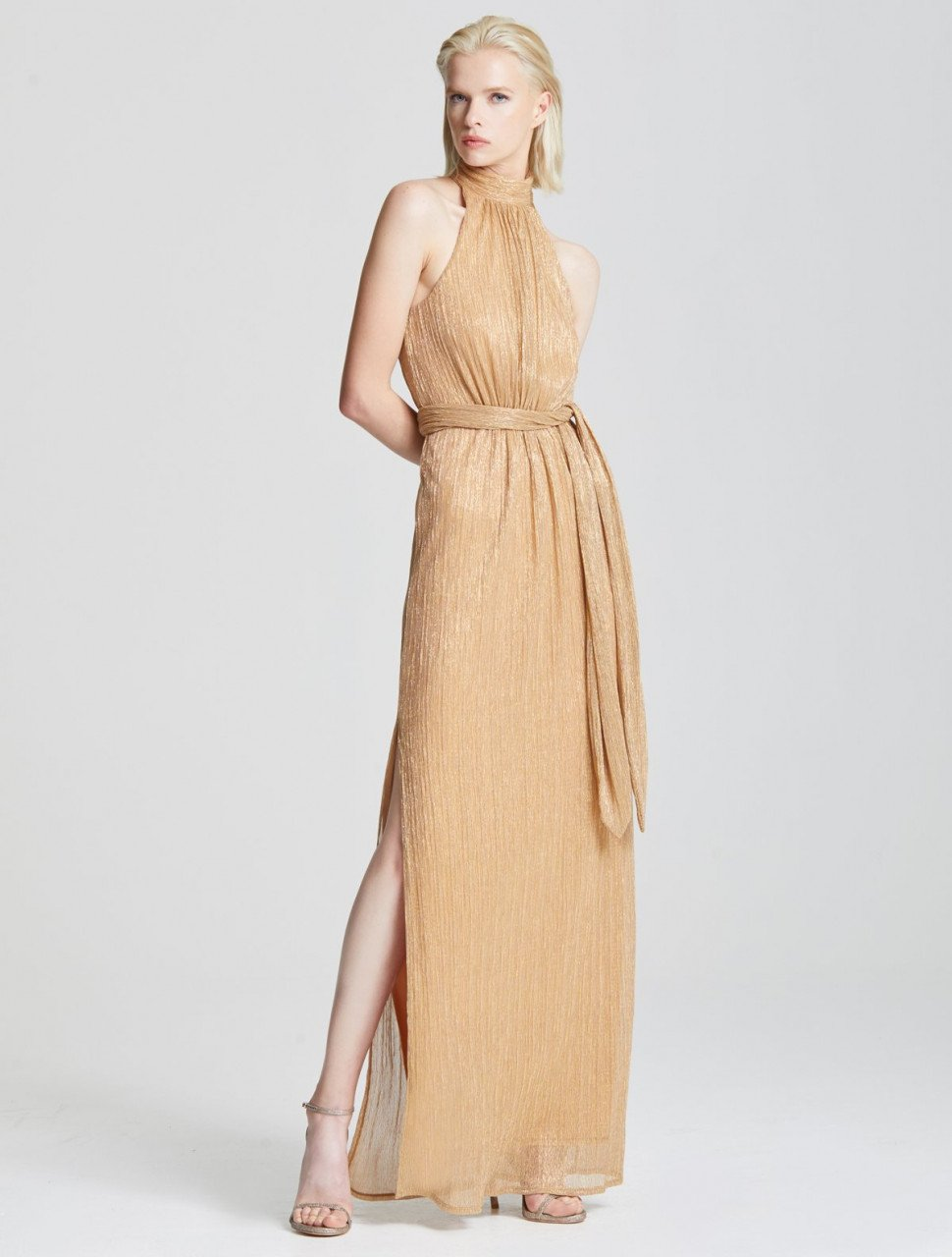 RUCHED METALLIC GOWN