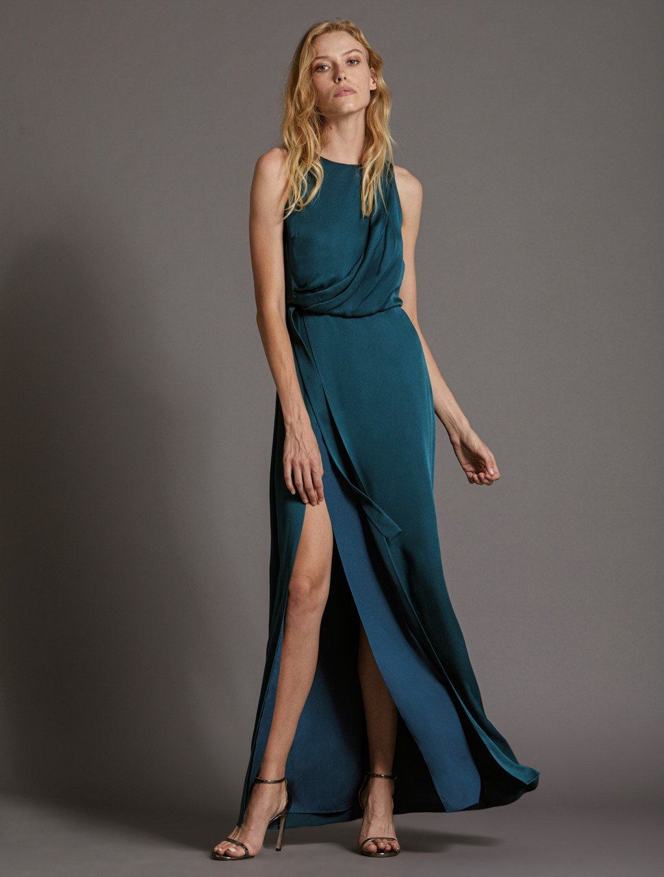 DRAPED SATIN GOWN