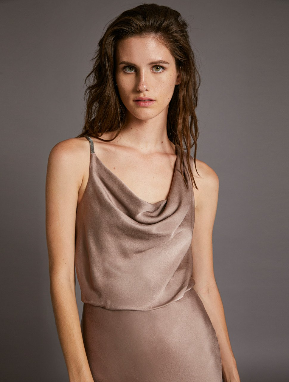 COWL SATIN DRESS