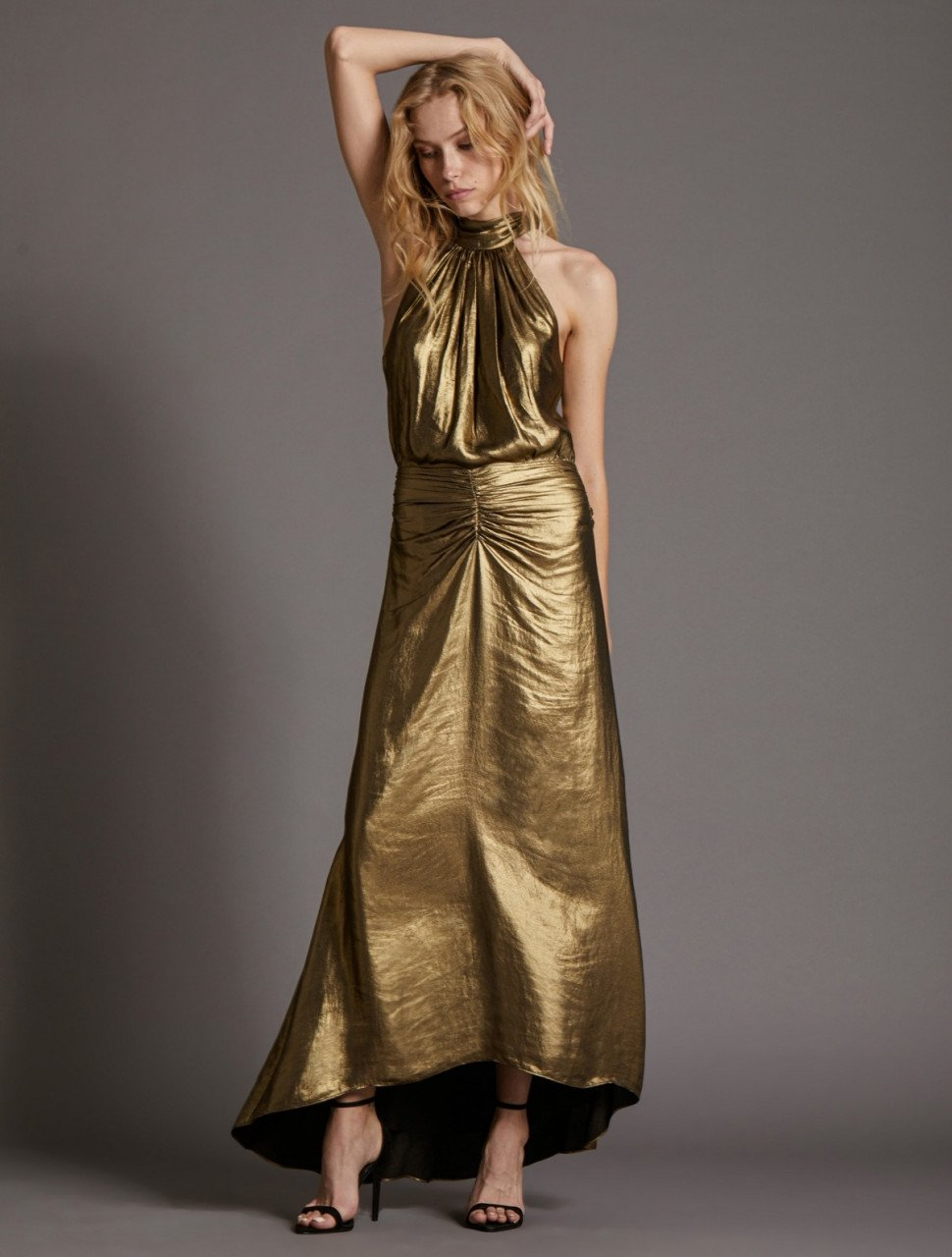 MOCK NECK METALLIC GOWN