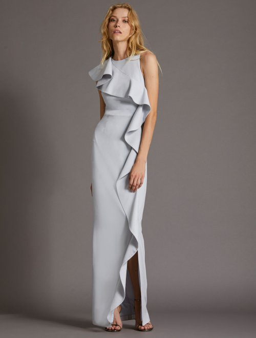 FLOUNCE CREPE GOWN