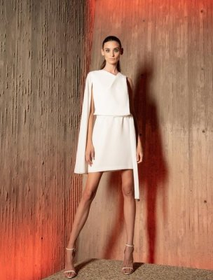 CASEY ASYM CAPE DRESS
