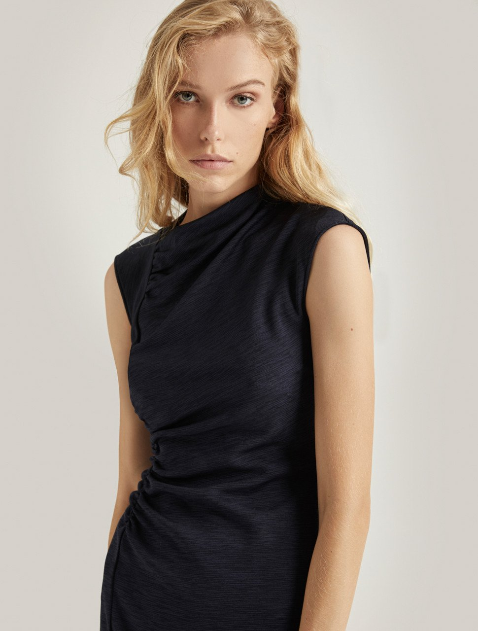 DRAPED NECK DRESS