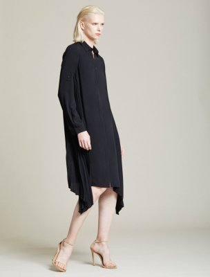 SIDE PLEATED SHIRT DRESS