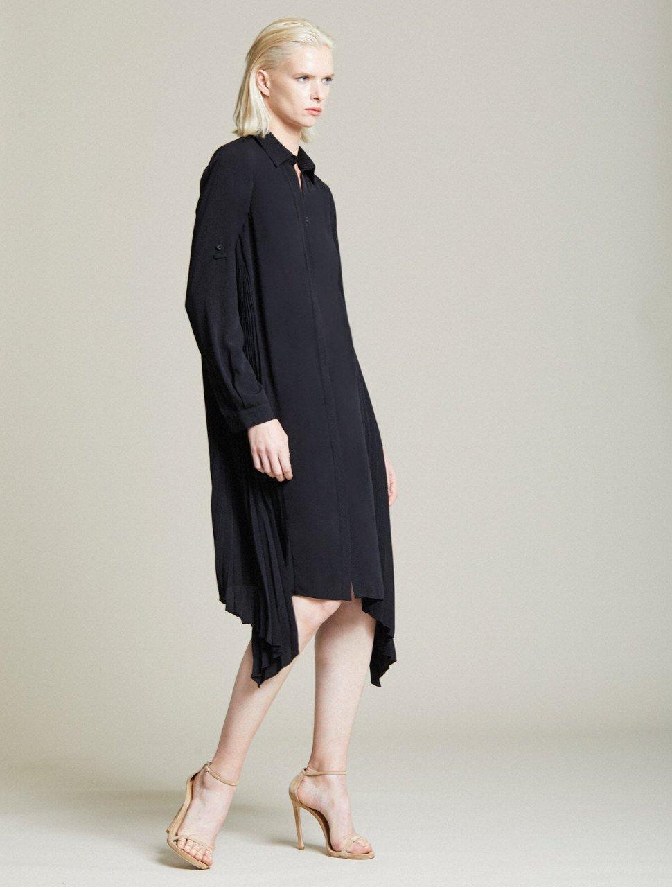 SIDE PLEATED SHIRT DRESS