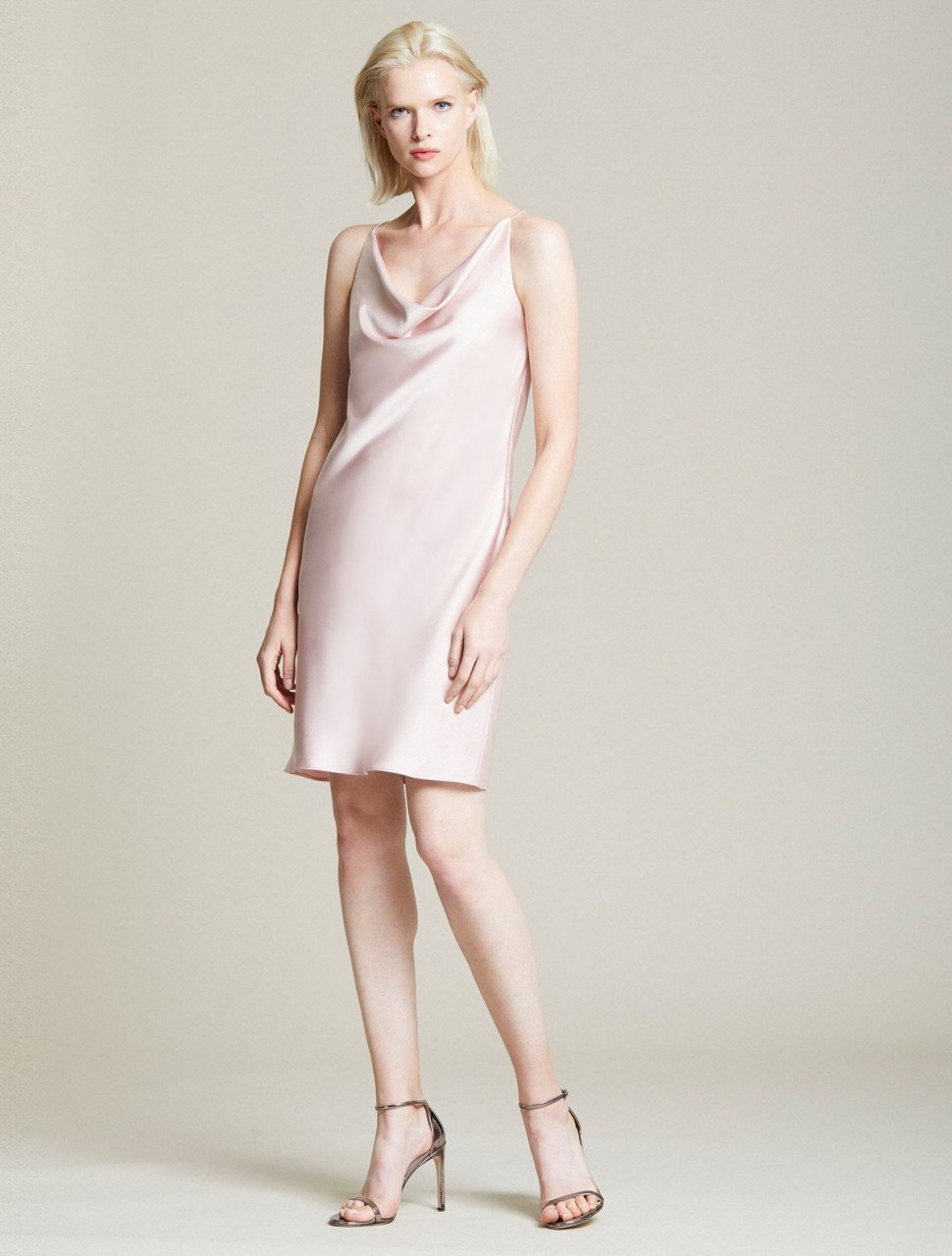 COWL SATIN SLIP DRESS