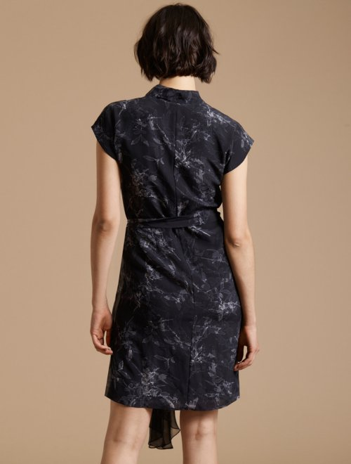 CAP SLEEVE DRAPED NECK PRINTED SILK DRESS
